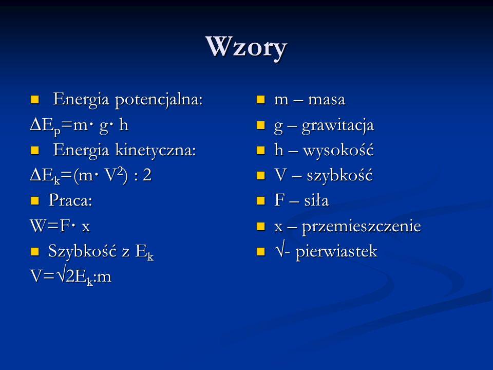 Wzory Energia potencjalna: Energia potencjalna: E p =m· g· h Energia kinetyczna: Energia kinetyczna: E k =(m· V 2 ) : 2 Praca: Praca: W=F· x Szybkość z E k Szybkość z E k V=2E k :m m – masa g – grawitacja h – wysokość V – szybkość F – siła x – przemieszczenie - pierwiastek