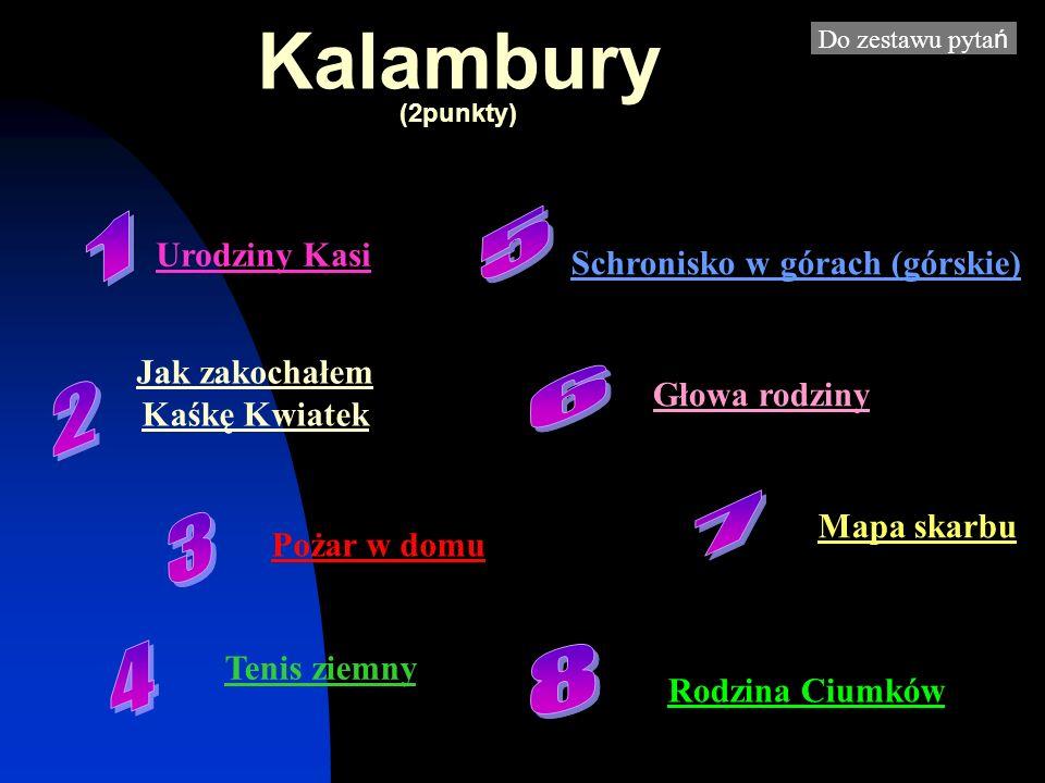 Kalambury (2punkty) Do zestawu pyta ń Urodziny Kasi Jak zakochałem Kaśkę Kwiatek Pożar w domu Tenis ziemny Schronisko w górach (górskie) Głowa rodziny