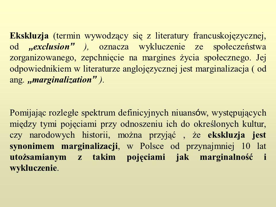 Ekskluzja (termin wywodzący się z literatury francuskojęzycznej, od exclusion ), oznacza wykluczenie ze społeczeństwa zorganizowanego, zepchnięcie na