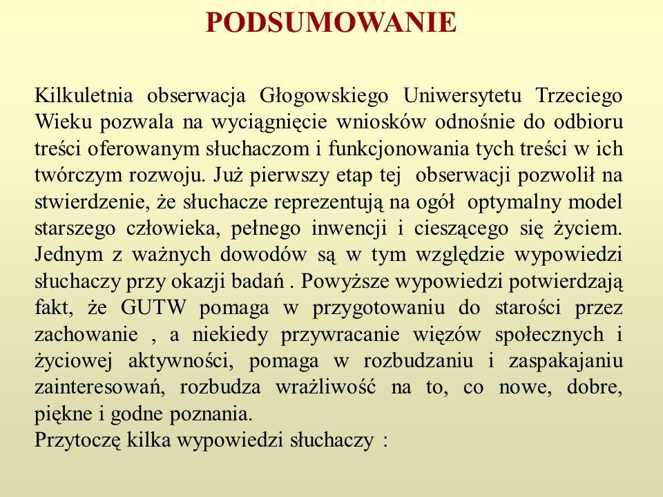 PODSUMOWANIE Kilkuletnia obserwacja Głogowskiego Uniwersytetu Trzeciego Wieku pozwala na wyciągnięcie wniosków odnośnie do odbioru treści oferowanym s