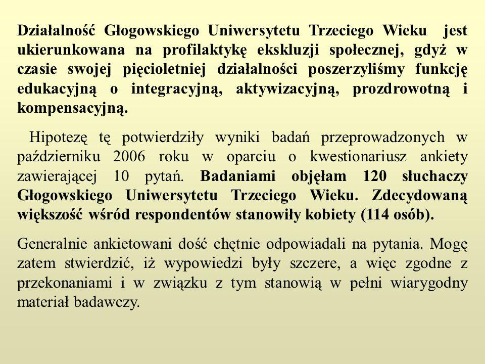 Działalność Głogowskiego Uniwersytetu Trzeciego Wieku jest ukierunkowana na profilaktykę ekskluzji społecznej, gdyż w czasie swojej pięcioletniej dzia