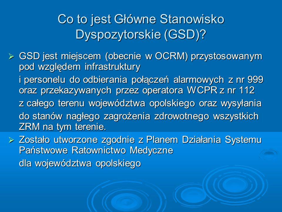 Co to jest Główne Stanowisko Dyspozytorskie (GSD)? GSD jest miejscem (obecnie w OCRM) przystosowanym pod względem infrastruktury GSD jest miejscem (ob