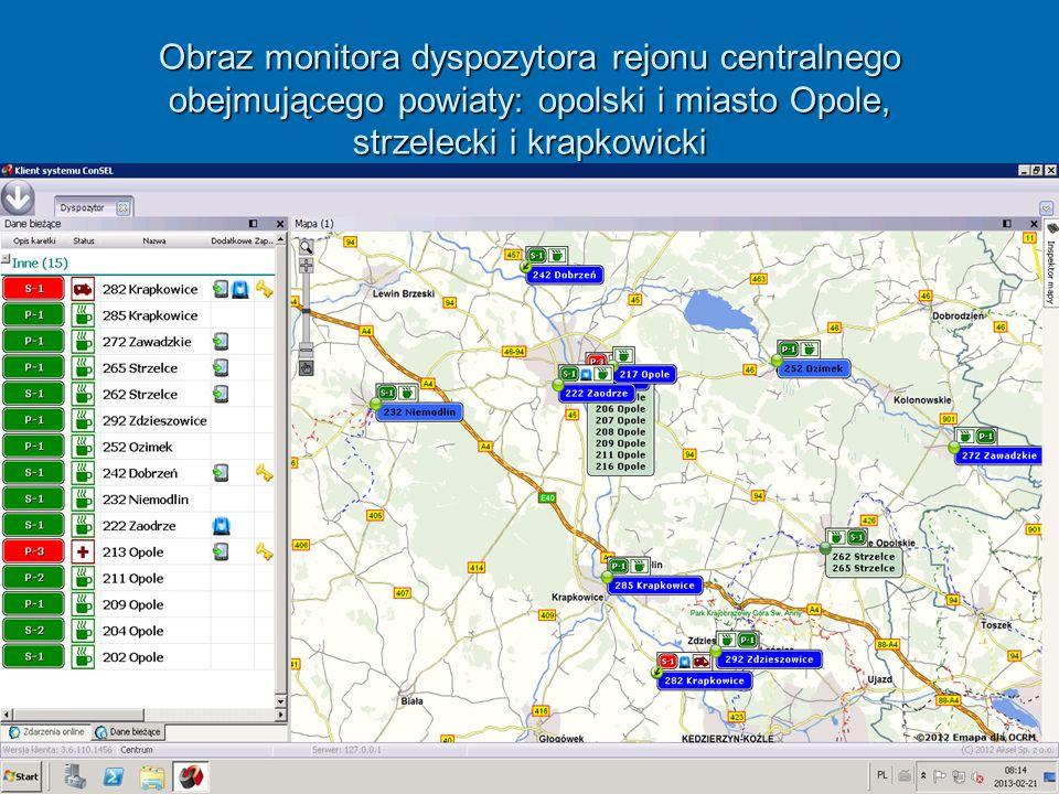 Obraz monitora dyspozytora rejonu centralnego obejmującego powiaty: opolski i miasto Opole, strzelecki i krapkowicki