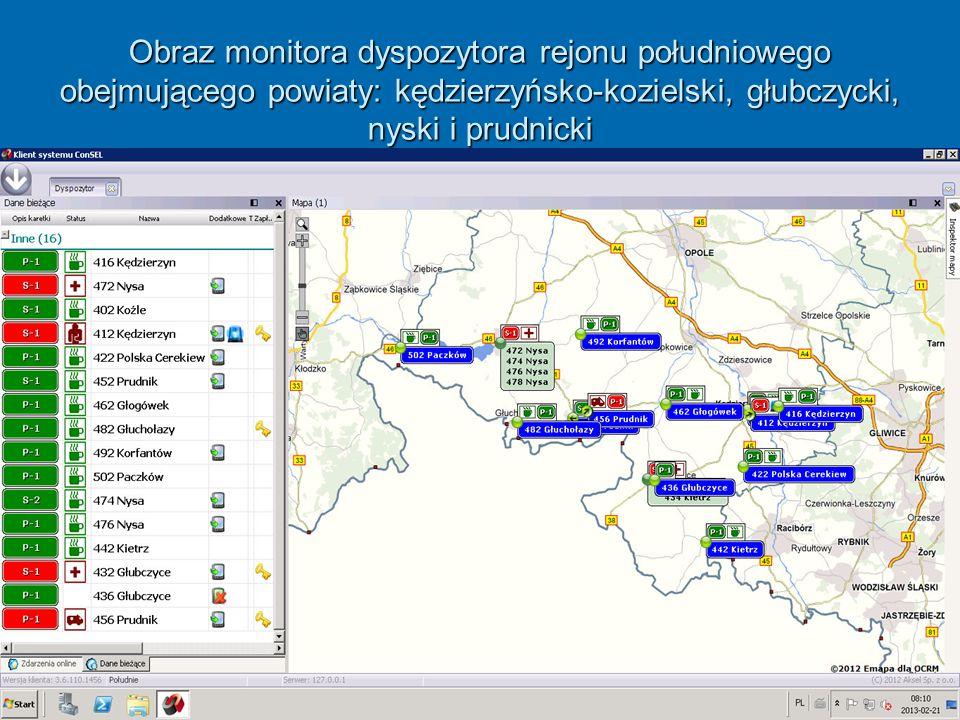 Obraz monitora dyspozytora rejonu południowego obejmującego powiaty: kędzierzyńsko-kozielski, głubczycki, nyski i prudnicki