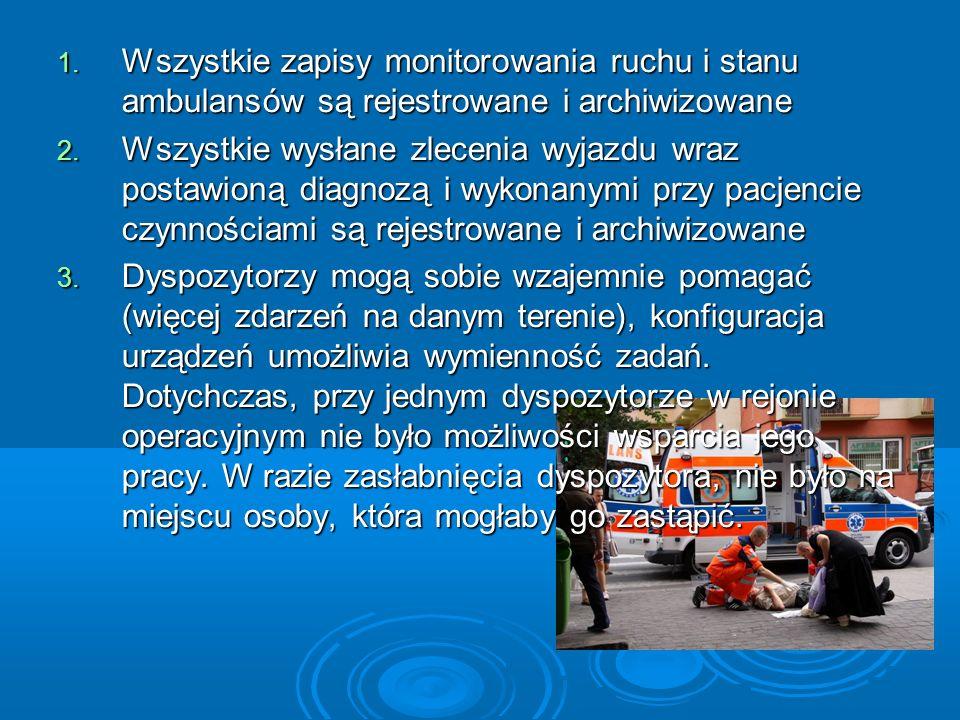 1. Wszystkie zapisy monitorowania ruchu i stanu ambulansów są rejestrowane i archiwizowane 2. Wszystkie wysłane zlecenia wyjazdu wraz postawioną diagn