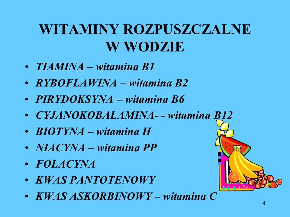 4 WITAMINY ROZPUSZCZALNE W WODZIE TIAMINA – witamina B1 RYBOFLAWINA – witamina B2 PIRYDOKSYNA – witamina B6 CYJANOKOBALAMINA- - witamina B12 BIOTYNA –