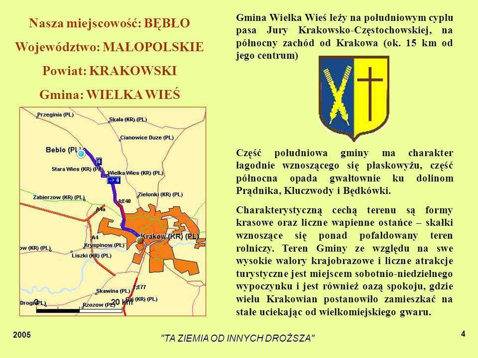 2005 TA ZIEMIA OD INNYCH DROŻSZA 4 Część południowa gminy ma charakter łagodnie wznoszącego się płaskowyżu, część północna opada gwałtownie ku dolinom Prądnika, Kluczwody i Będkówki.