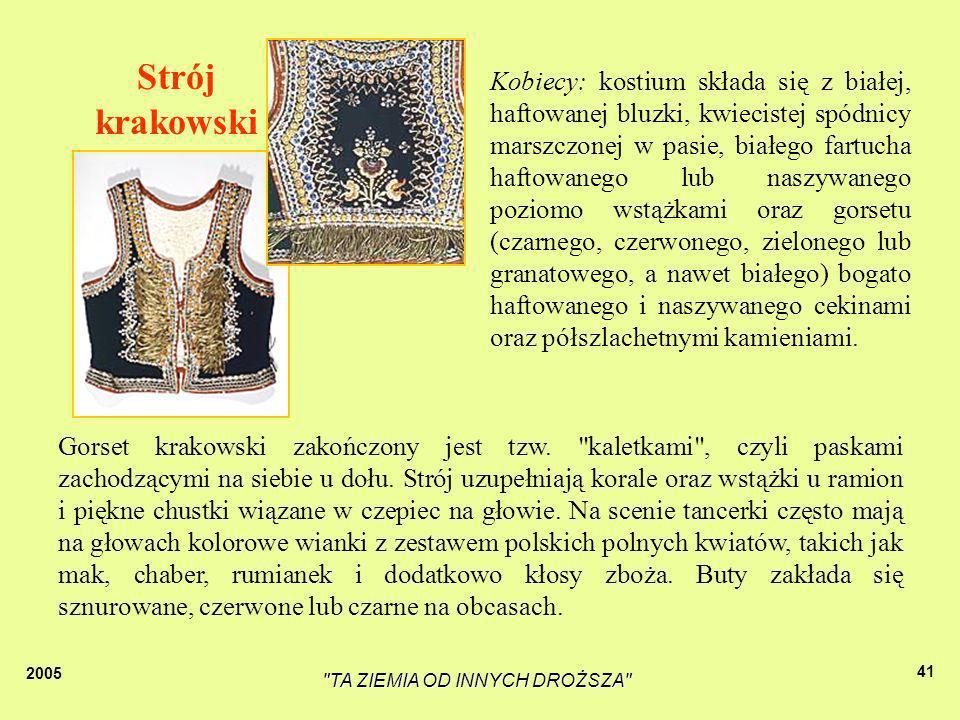 2005 TA ZIEMIA OD INNYCH DROŻSZA 40 Tradycyjny strój kobiet w Bęble Uroczyste stroje kobiet z Koła Gospodyń nie różnią się zbytnio od krakowskich.