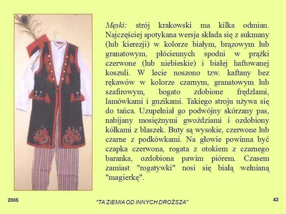 2005 TA ZIEMIA OD INNYCH DROŻSZA 41 Kobiecy: kostium składa się z białej, haftowanej bluzki, kwiecistej spódnicy marszczonej w pasie, białego fartucha haftowanego lub naszywanego poziomo wstążkami oraz gorsetu (czarnego, czerwonego, zielonego lub granatowego, a nawet białego) bogato haftowanego i naszywanego cekinami oraz półszlachetnymi kamieniami.