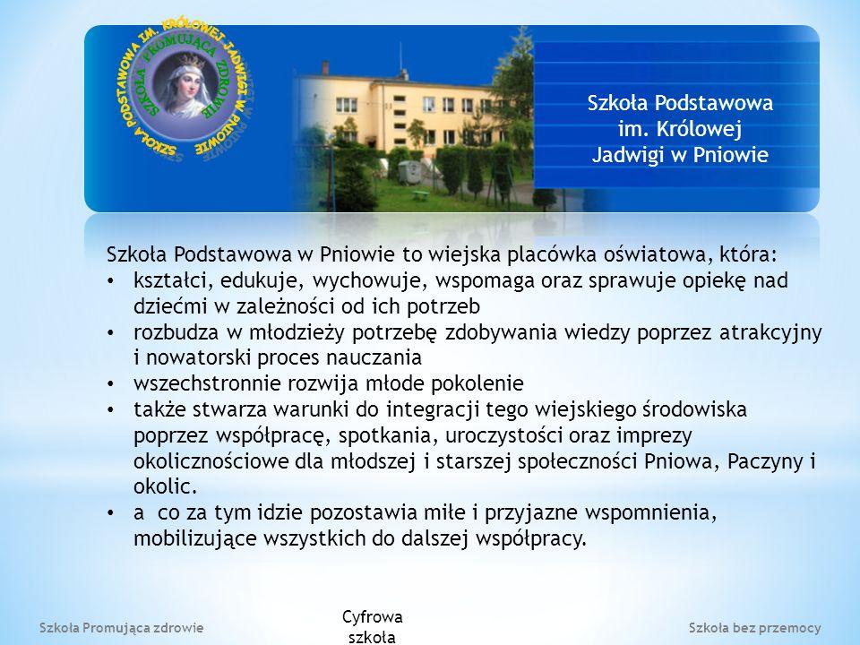 Szkoła Podstawowa im. Królowej Jadwigi w Pniowie Szkoła Podstawowa w Pniowie to wiejska placówka oświatowa, która: kształci, edukuje, wychowuje, wspom