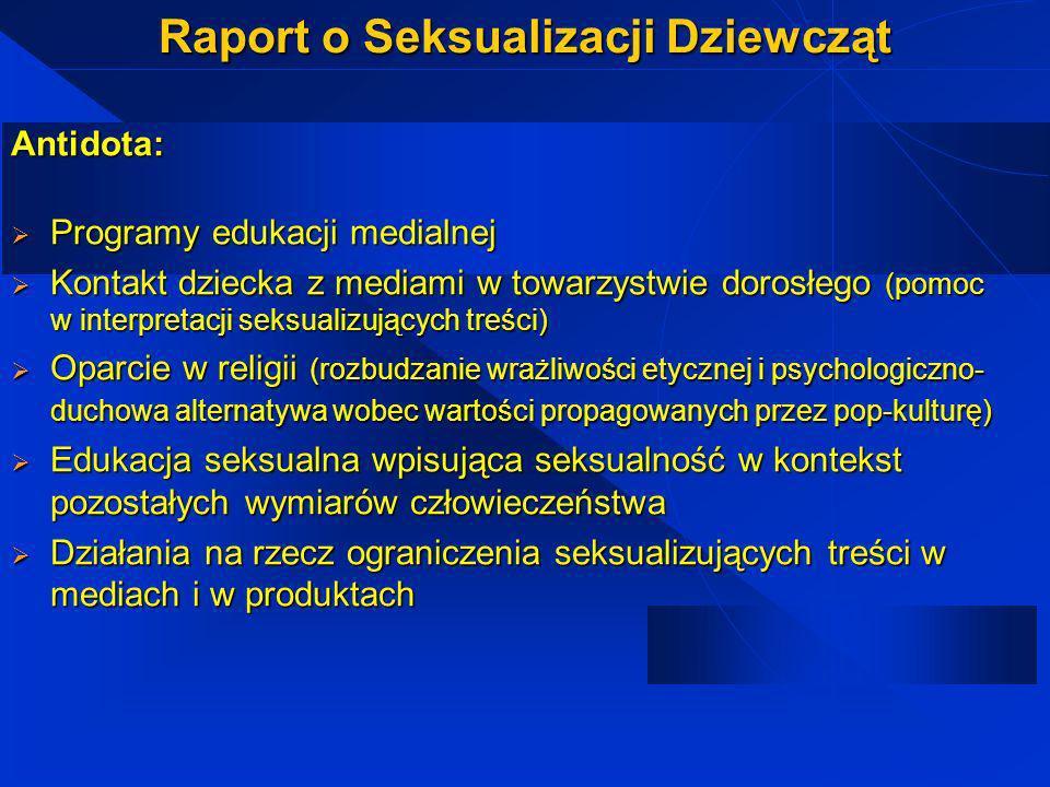Raport o Seksualizacji Dziewcząt Konsekwencje seksualizacji: A1 badania Poznawcze (pogorszenie sprawności umysłowej, logicznego myślenia, obliczeń mat