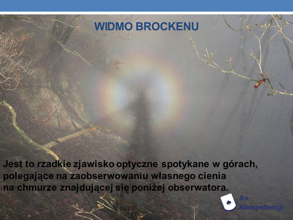 WIDMO BROCKENU Jest to rzadkie zjawisko optyczne spotykane w górach, polegające na zaobserwowaniu własnego cienia na chmurze znajdującej się poniżej o
