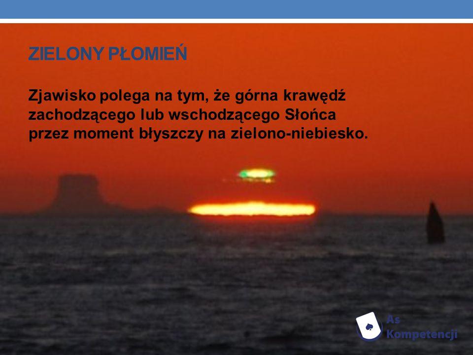 ZIELONY PŁOMIEŃ Zjawisko polega na tym, że górna krawędź zachodzącego lub wschodzącego Słońca przez moment błyszczy na zielono-niebiesko.