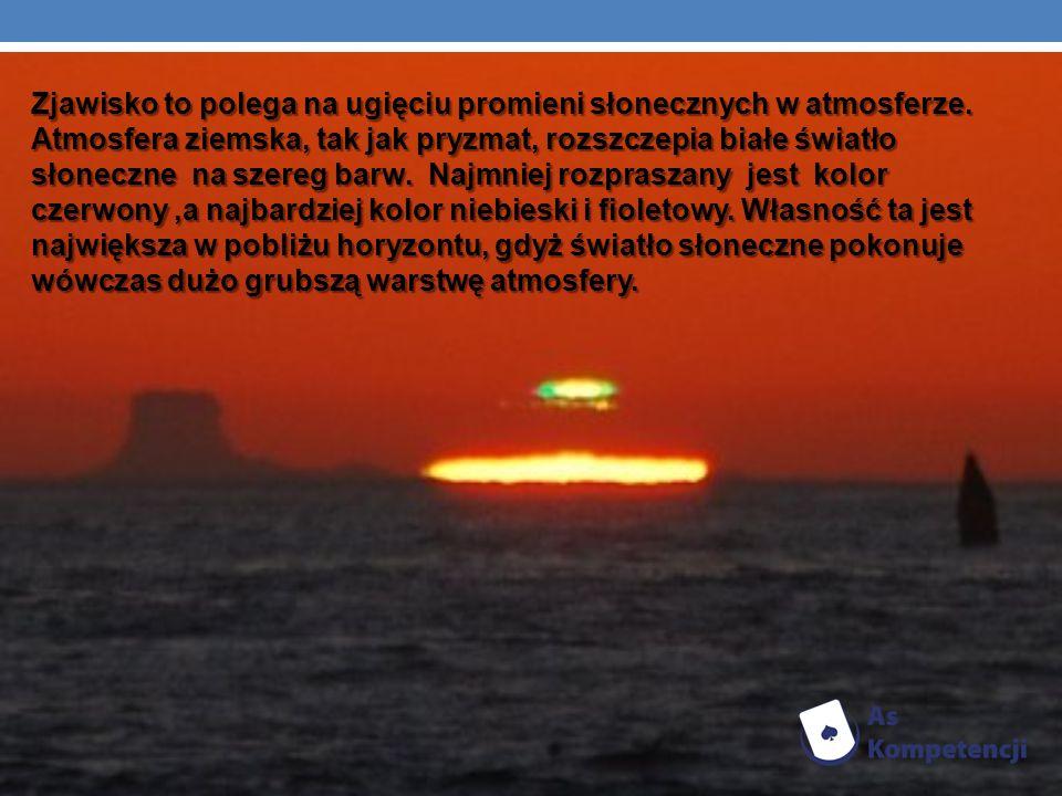 Zjawisko to polega na ugięciu promieni słonecznych w atmosferze. Atmosfera ziemska, tak jak pryzmat, rozszczepia białe światło słoneczne na szereg bar