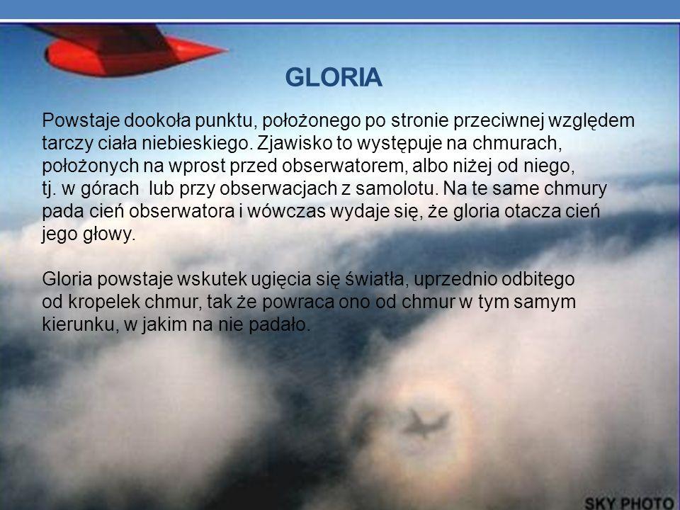 GLORIA Powstaje dookoła punktu, położonego po stronie przeciwnej względem tarczy ciała niebieskiego. Zjawisko to występuje na chmurach, położonych na