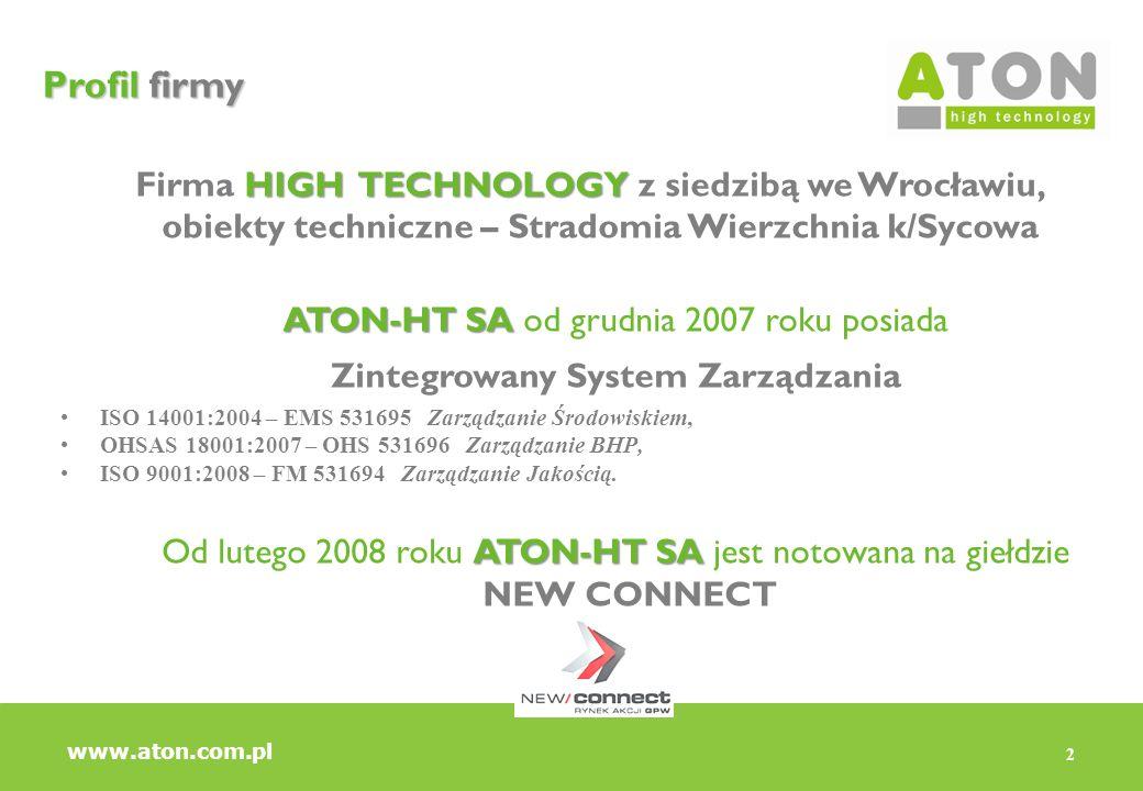 2 Profil firmy HIGH TECHNOLOGY Firma HIGH TECHNOLOGY z siedzibą we Wrocławiu, obiekty techniczne – Stradomia Wierzchnia k/Sycowa ATON-HT SA ATON-HT SA