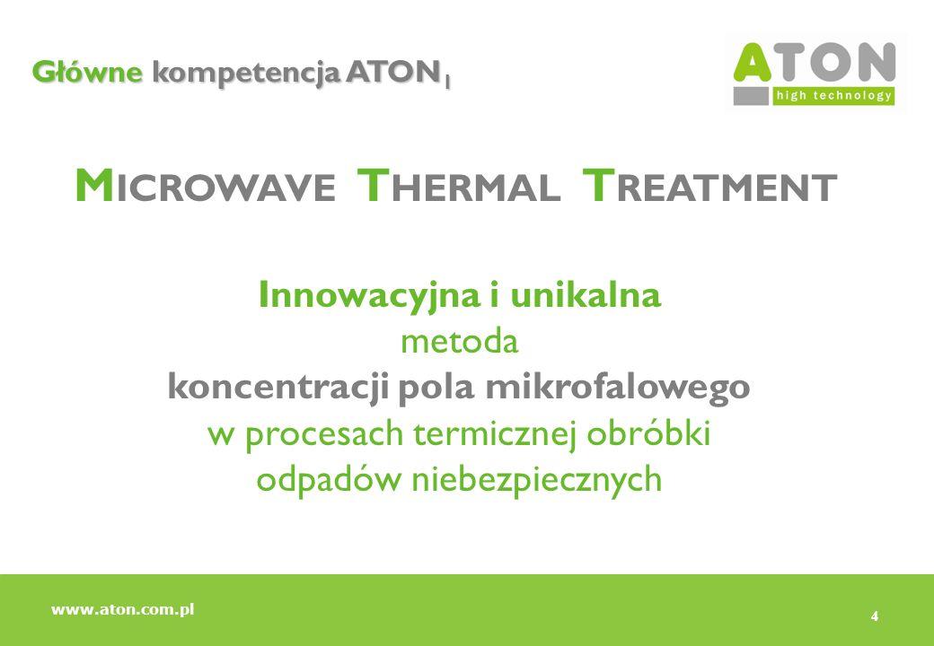 4 Główne kompetencja ATON 1 M ICROWAVE T HERMAL T REATMENT Innowacyjna i unikalna metoda koncentracji pola mikrofalowego w procesach termicznej obróbk
