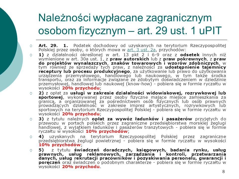 8 Należności wypłacane zagranicznym osobom fizycznym – art. 29 ust. 1 uPIT Art. 29. 1. Podatek dochodowy od uzyskanych na terytorium Rzeczypospolitej