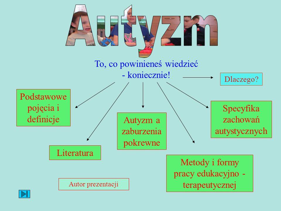 To, co powinieneś wiedzieć - koniecznie! Podstawowe pojęcia i definicje Autyzm a zaburzenia pokrewne Specyfika zachowań autystycznych Literatura Metod