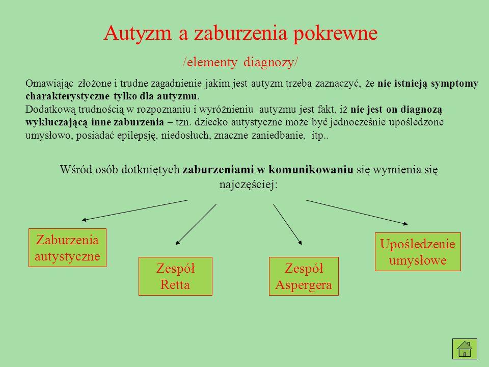 Zaburzenia autystyczne /kwestionariusz diagnozy/ Diagnostic and Statistical Manual of Disirders – 4 th.