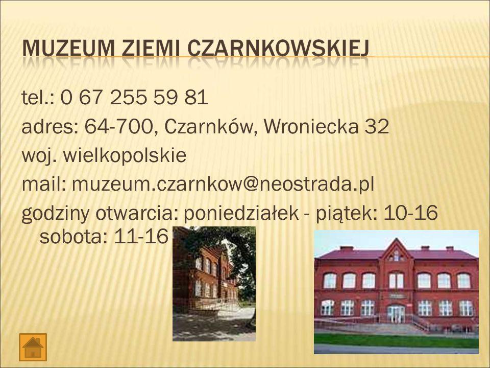 tel.: 0 67 255 59 81 adres: 64-700, Czarnków, Wroniecka 32 woj.