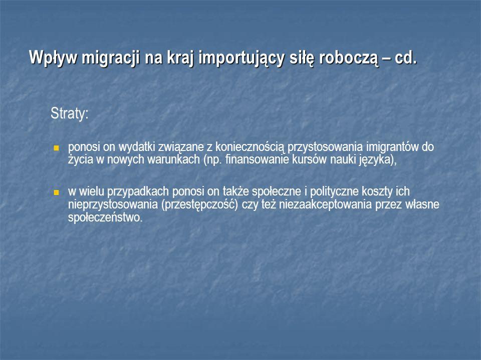 Wpływ migracji na kraj importujący siłę roboczą – cd.