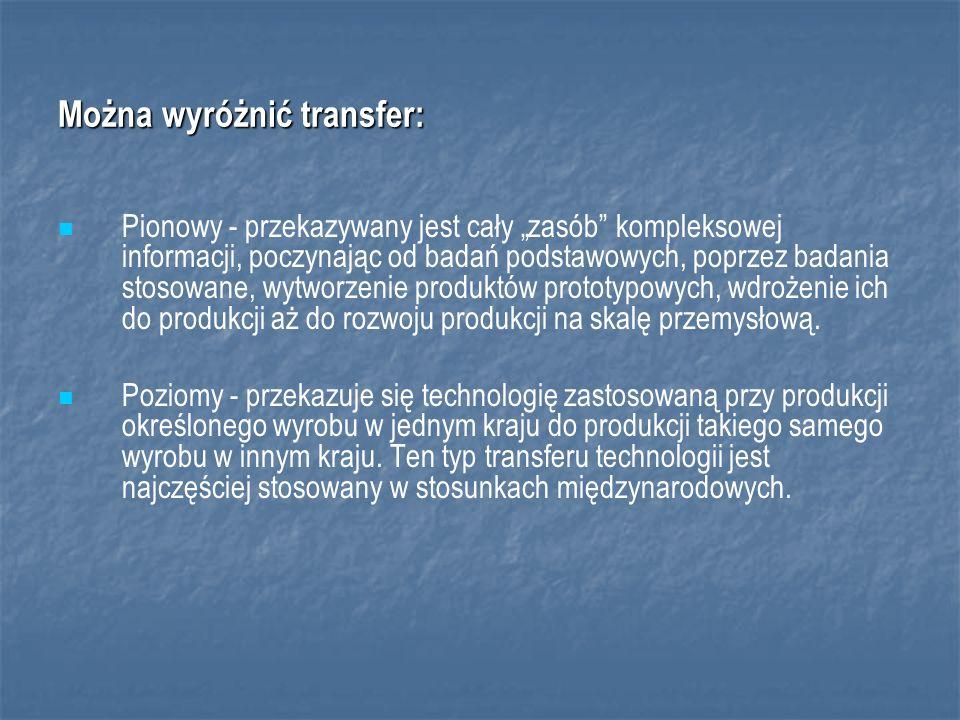 Można wyróżnić transfer: Pionowy - przekazywany jest cały zasób kompleksowej informacji, poczynając od badań podstawowych, poprzez badania stosowane, wytworzenie produktów prototypowych, wdrożenie ich do produkcji aż do rozwoju produkcji na skalę przemysłową.
