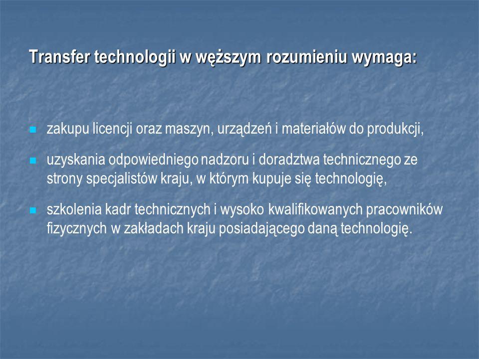 Transfer technologii w węższym rozumieniu wymaga: zakupu licencji oraz maszyn, urządzeń i materiałów do produkcji, uzyskania odpowiedniego nadzoru i doradztwa technicznego ze strony specjalistów kraju, w którym kupuje się technologię, szkolenia kadr technicznych i wysoko kwalifikowanych pracowników fizycznych w zakładach kraju posiadającego daną technologię.