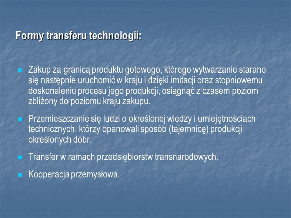 Formy transferu technologii: Zakup za granicą produktu gotowego, którego wytwarzanie starano się następnie uruchomić w kraju i dzięki imitacji oraz stopniowemu doskonaleniu procesu jego produkcji, osiągnąć z czasem poziom zbliżony do poziomu kraju zakupu.