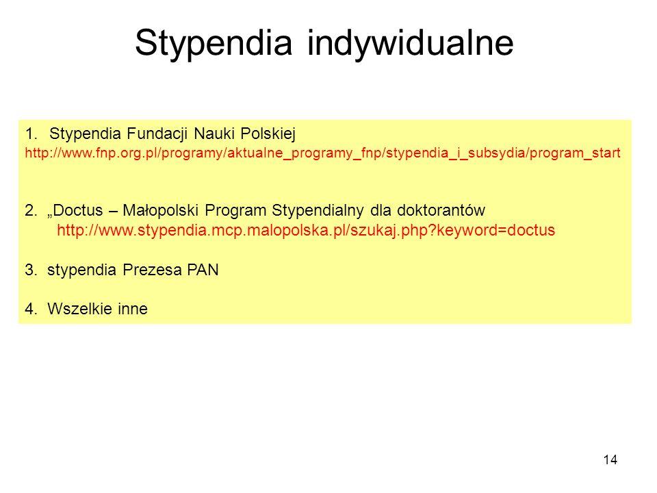 14 Stypendia indywidualne 1.Stypendia Fundacji Nauki Polskiej http://www.fnp.org.pl/programy/aktualne_programy_fnp/stypendia_i_subsydia/program_start