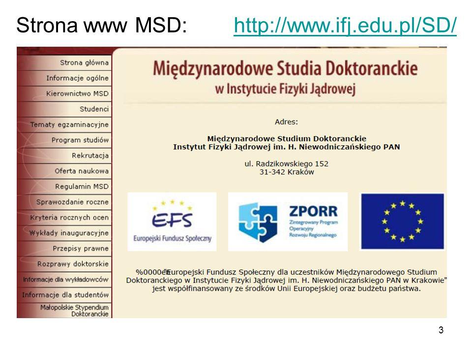 3 Strona www MSD: http://www.ifj.edu.pl/SD/http://www.ifj.edu.pl/SD/