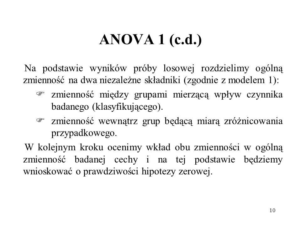10 ANOVA 1 (c.d.) Na podstawie wyników próby losowej rozdzielimy ogólną zmienność na dwa niezależne składniki (zgodnie z modelem 1): zmienność między