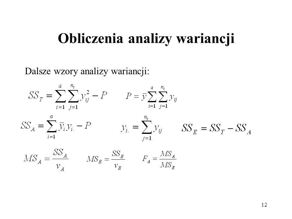 12 Obliczenia analizy wariancji Dalsze wzory analizy wariancji: