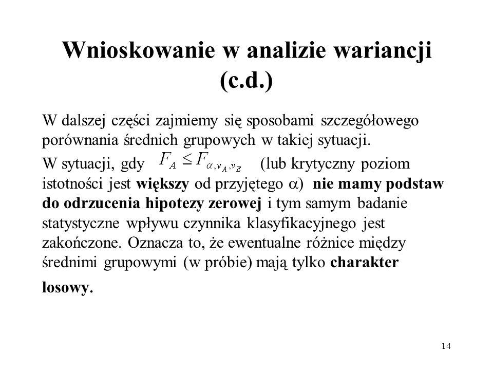 14 Wnioskowanie w analizie wariancji (c.d.) W dalszej części zajmiemy się sposobami szczegółowego porównania średnich grupowych w takiej sytuacji. W s