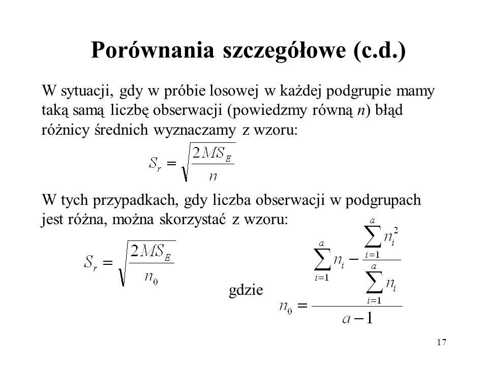 17 Porównania szczegółowe (c.d.) W sytuacji, gdy w próbie losowej w każdej podgrupie mamy taką samą liczbę obserwacji (powiedzmy równą n) błąd różnicy