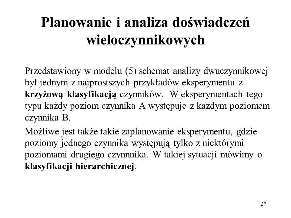 27 Planowanie i analiza doświadczeń wieloczynnikowych Przedstawiony w modelu (5) schemat analizy dwuczynnikowej był jednym z najprostszych przykładów