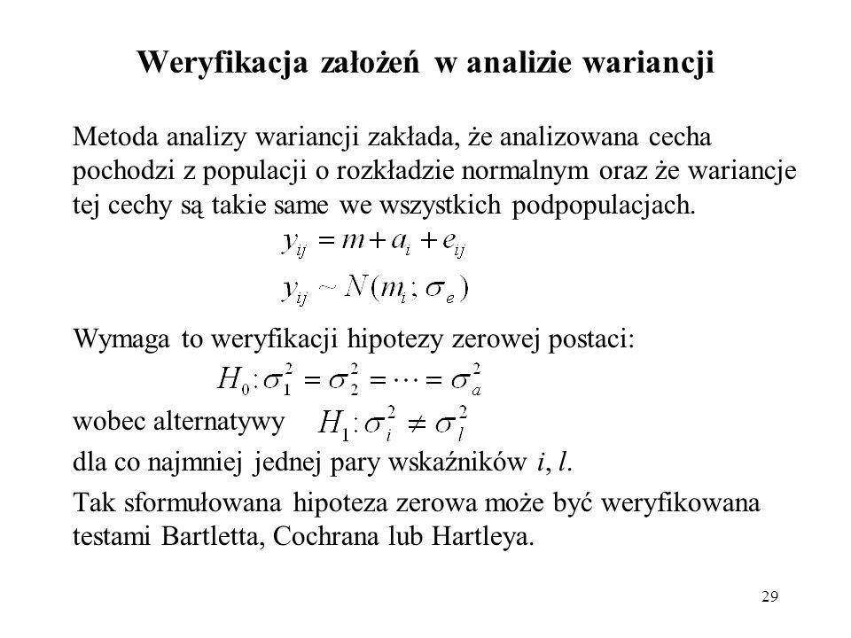 29 Weryfikacja założeń w analizie wariancji Metoda analizy wariancji zakłada, że analizowana cecha pochodzi z populacji o rozkładzie normalnym oraz że