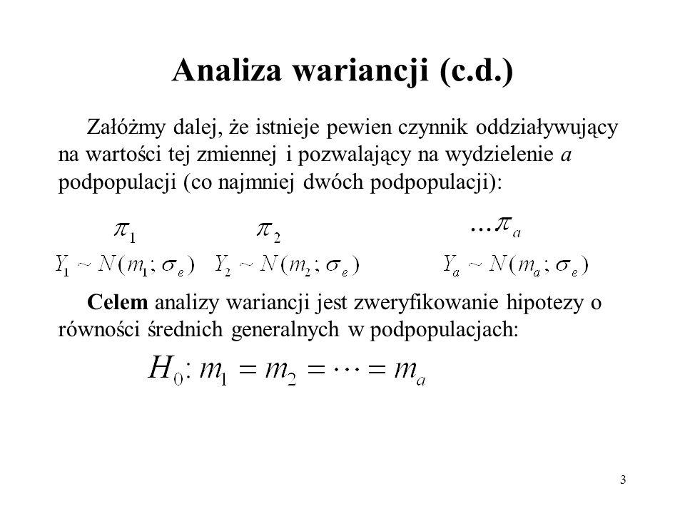 3 Analiza wariancji (c.d.) Załóżmy dalej, że istnieje pewien czynnik oddziaływujący na wartości tej zmiennej i pozwalający na wydzielenie a podpopulac