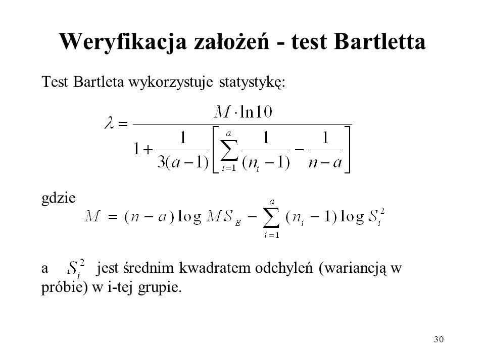 30 Weryfikacja założeń - test Bartletta Test Bartleta wykorzystuje statystykę: gdzie a jest średnim kwadratem odchyleń (wariancją w próbie) w i-tej gr