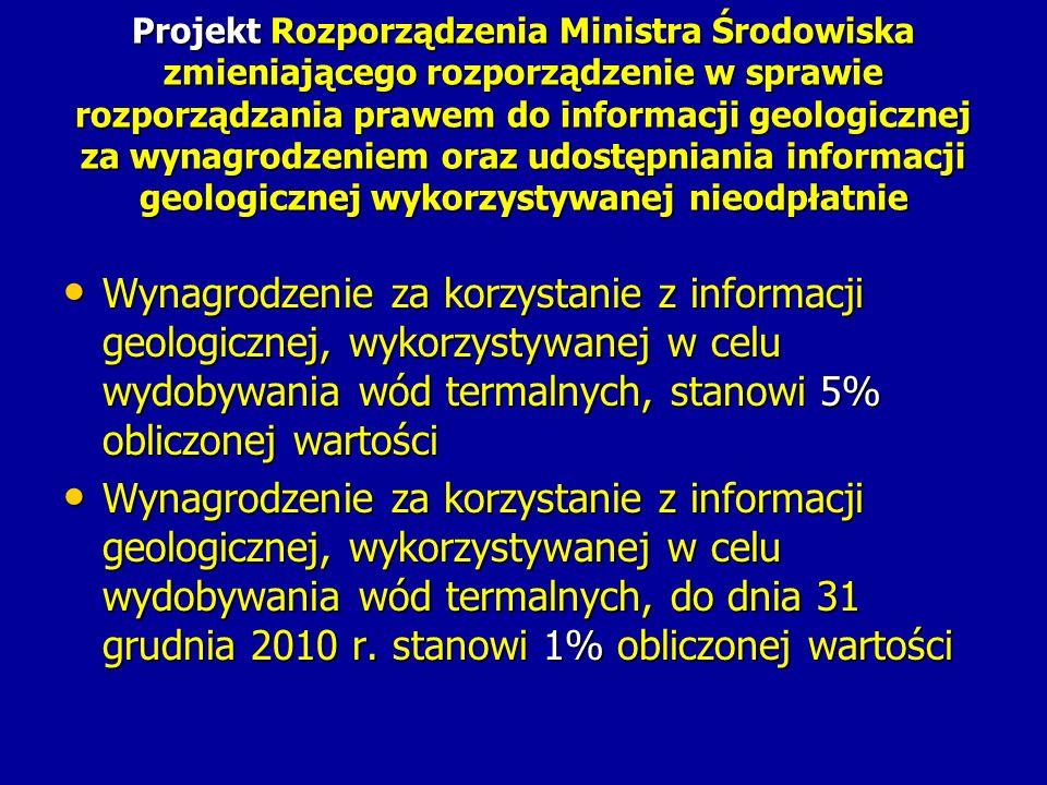 Projekt Rozporządzenia Ministra Środowiska zmieniającego rozporządzenie w sprawie rozporządzania prawem do informacji geologicznej za wynagrodzeniem o