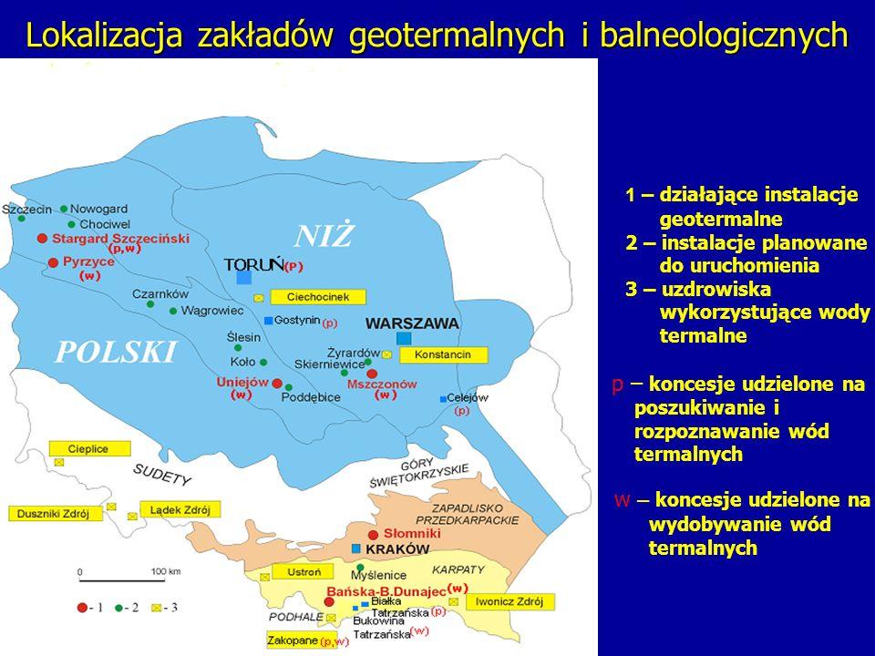 Lokalizacja zakładów geotermalnych i balneologicznych 1 – działające instalacje geotermalne 2 – instalacje planowane do uruchomienia 3 – uzdrowiska wy