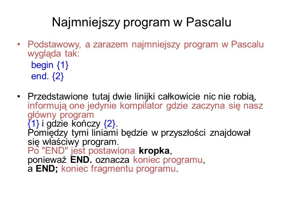 Najmniejszy program w Pascalu Podstawowy, a zarazem najmniejszy program w Pascalu wygląda tak: begin {1} end.