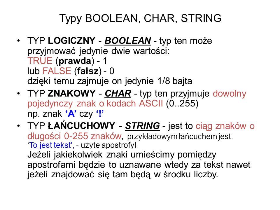 Typy BOOLEAN, CHAR, STRING TYP LOGICZNY - BOOLEAN - typ ten może przyjmować jedynie dwie wartości: TRUE (prawda) - 1 lub FALSE (fałsz) - 0 dzięki temu zajmuje on jedynie 1/8 bajta TYP ZNAKOWY - CHAR - typ ten przyjmuje dowolny pojedynczy znak o kodach ASCII (0..255) np.
