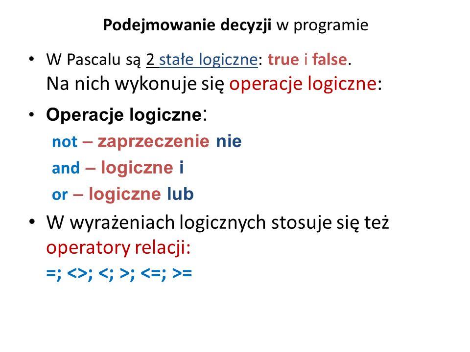 Podejmowanie decyzji w programie W Pascalu są 2 stałe logiczne: true i false.