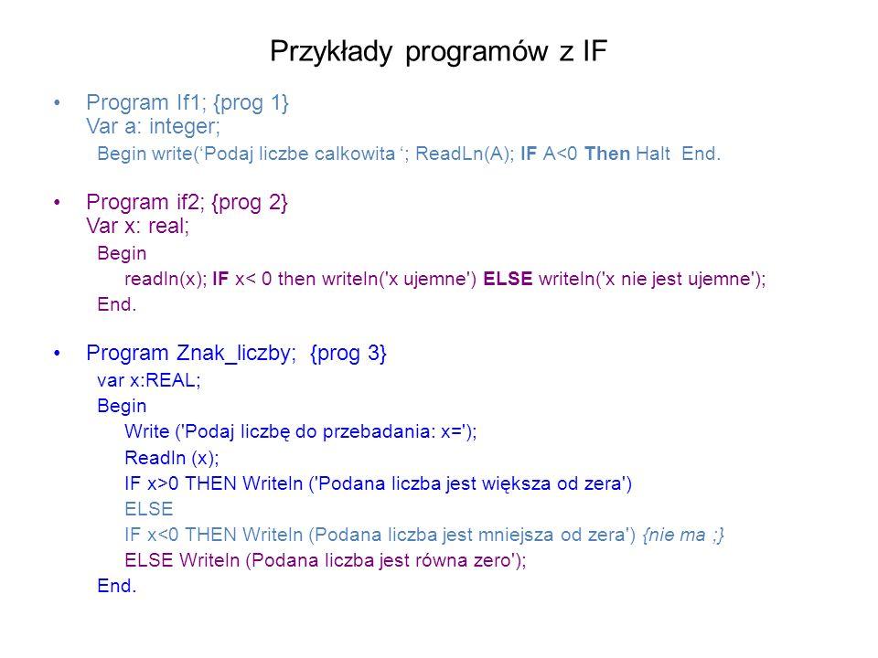 Przykłady programów z IF Program If1; {prog 1} Var a: integer; Begin write(Podaj liczbe calkowita ; ReadLn(A); IF A<0 Then Halt End.