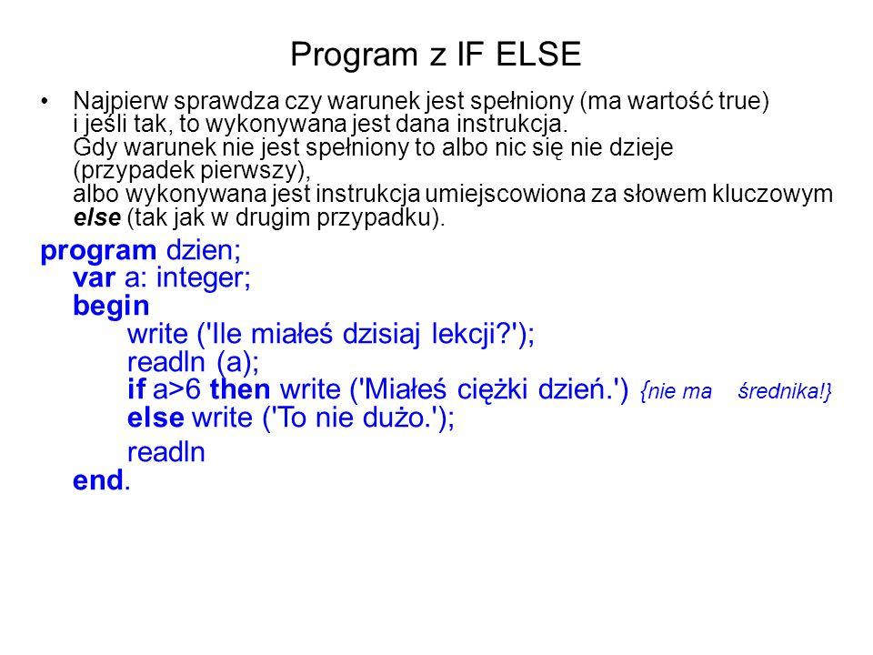 Program z IF ELSE Najpierw sprawdza czy warunek jest spełniony (ma wartość true) i jeśli tak, to wykonywana jest dana instrukcja.