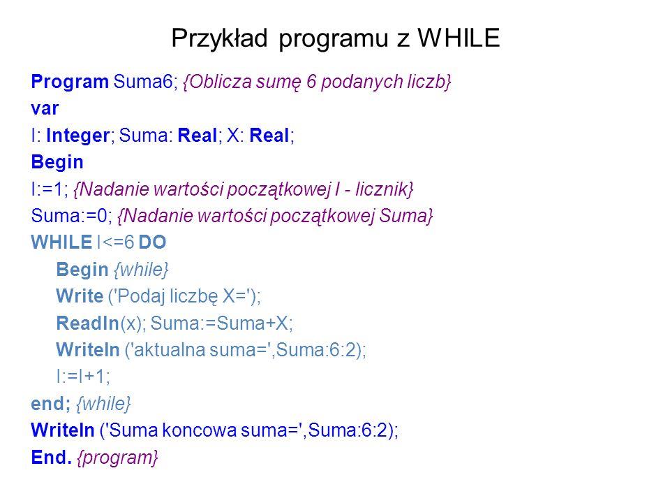Przykład programu z WHILE Program Suma6; {Oblicza sumę 6 podanych liczb} var I: Integer; Suma: Real; X: Real; Begin I:=1; {Nadanie wartości początkowej I - licznik} Suma:=0; {Nadanie wartości początkowej Suma} WHILE I<=6 DO Begin {while} Write ( Podaj liczbę X= ); Readln(x); Suma:=Suma+X; Writeln ( aktualna suma= ,Suma:6:2); I:=I+1; end; {while} Writeln ( Suma koncowa suma= ,Suma:6:2); End.