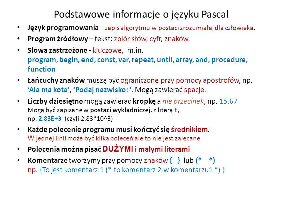 Podstawowe informacje o języku Pascal Język programowania – zapis algorytmu w postaci zrozumiałej dla człowieka.