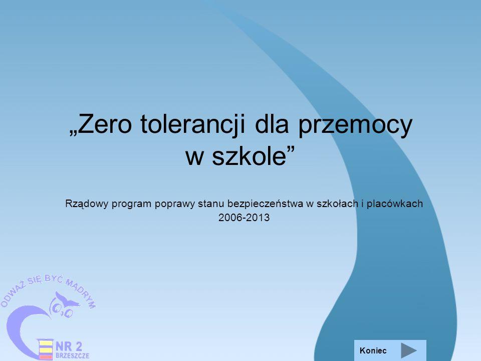 Zero tolerancji dla przemocy w szkole Rządowy program poprawy stanu bezpieczeństwa w szkołach i placówkach 2006-2013 Koniec