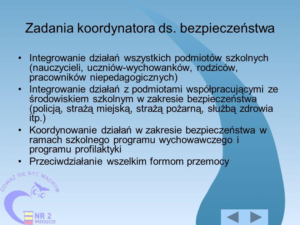 Zadania koordynatora ds. bezpieczeństwa Integrowanie działań wszystkich podmiotów szkolnych (nauczycieli, uczniów-wychowanków, rodziców, pracowników n